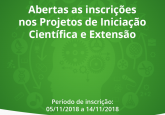 Abertas as inscrições nos Projetos de Iniciação Científica e Extensão