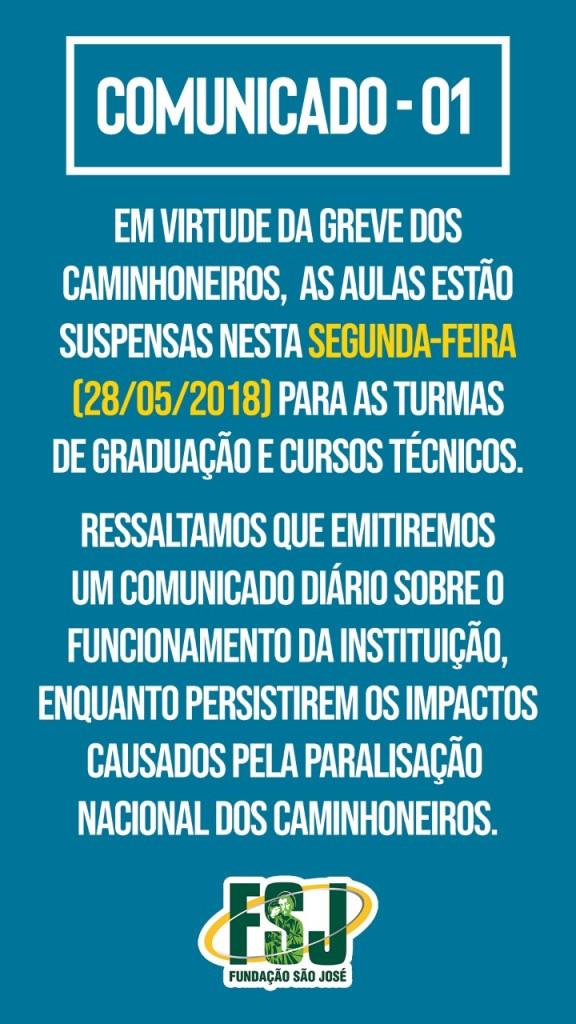 EM VIRTUDE DA GREVE DOS CAMINHONEIROS, AS AULAS ESTÃO SUSPENSAS NESTA SEGUNDA-FEIRA (28/05/2018) PARA AS TURMAS DE GRADUAÇÃO E CURSOS TÉCNICOS.