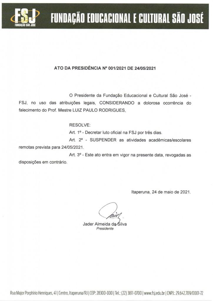ATO DA PRESIDÊNCIA N° 001/2021 DE 24/05/2021